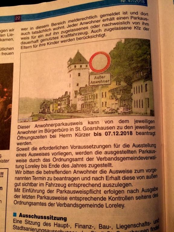 Zeitungsartikel aus VG Loreley Mitteilungsblatt 47/2018